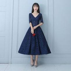 P-BRIDE - Elbow-Sleeve Lace Mini Prom Dress