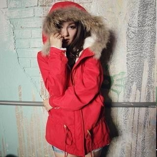 Faux-Fur Trim Hooded Parka