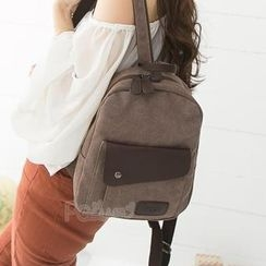 PG Beauty - Faux-Leather Appliqué Canvas Backpack