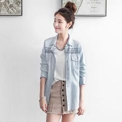 OrangeBear - 浅蓝色渐层图腾刺绣长版衬衫