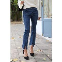 PPGIRL - Slit-Front Boot-Cut Jeans