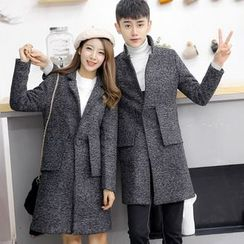 Bay Go Mall - Couple Matching Long Notch Lapel Coat