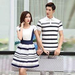 Azure - Couple Matching Striped Short Sleeve Polo Shirt / Short Sleeve Dress