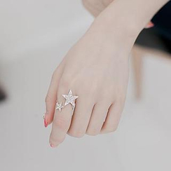 Ticoo - Rhinestone Star Adjustable Ring
