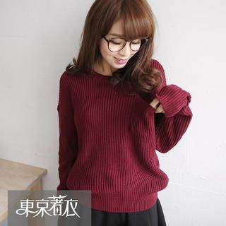 Tokyo Fashion - Crew-Neck Pocket-Front Sweater