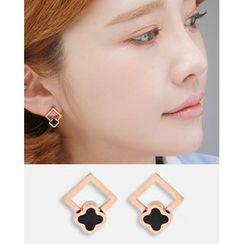 Miss21 Korea - Square & Clover Earrings