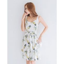GUMZZI - Sleeveless Pineapple Print Dress With Sash