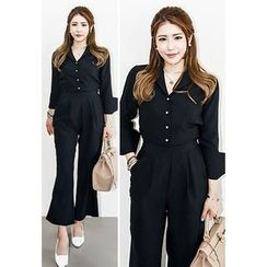 INSTYLEFIT - Long-Sleeve Half-Placket Jumpsuit