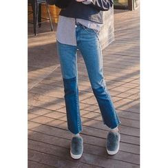 migunstyle - Color-Block Straight-Cut Jeans
