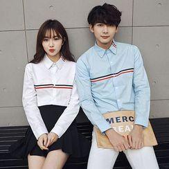 尚雅姿 - 情侶款條紋長袖襯衫