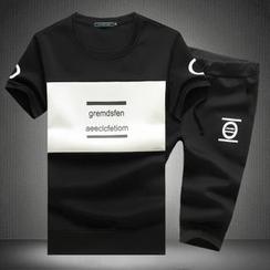 Alvicio - 套裝: 短袖字母T恤 + 印花運動短褲