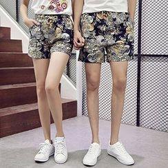 Azure - Couple Matching Cat Print Short Sleeve T-Shirt + Floral Print Shorts