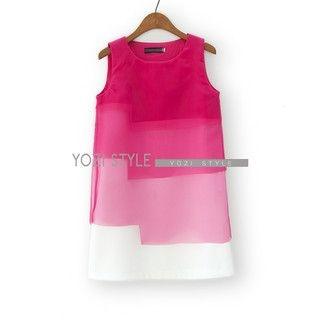 YOZI - Sleeveless Gradient Layered Dress