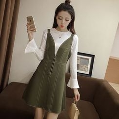 Angel Shine - Set: Front Zip Pinafore Dress + Long Sleeve Top
