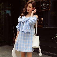 Dabuwawa - Elbow-Sleeve Tie-Front Plaid Dress