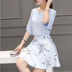 Dowisi - Set: Elbow-Sleeve Chiffon Top + Floral Skirt