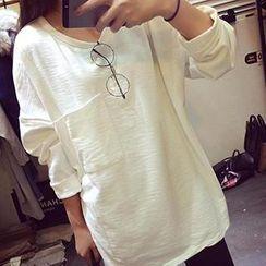 Eva Fashion - Round-Neck Slit Hem Long T-Shirt