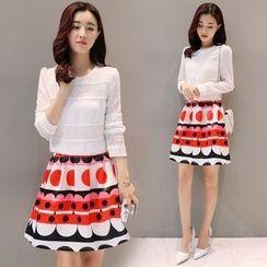 Mandalle - Set: Crochet Trim Long Sleeve Top + Printed A-Line Skirt