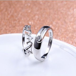 Zundiao - Sterling Silver Rhinestone Couple Ring