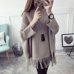 Qimi - Fringed Mock Neck Sweater