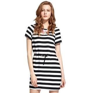 Moonbasa - Short-Sleeve Striped Dress with Belt