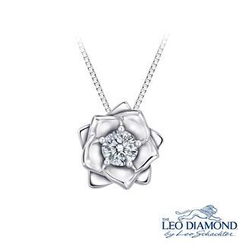 Leo Diamond - Rose of My Heart Collection - 18K White Gold Rose Diamond Pendant Necklace (16')