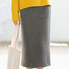 SUYISODA - Slit Midi Knit Skirt