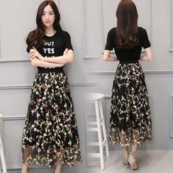 MIUCO - 套裝: 字母短袖T恤 + 繡花中長裙