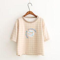 Vateddy - Check Short Sleeve T-Shirt