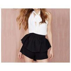 Richcoco - Frill Trim High-waist Shorts