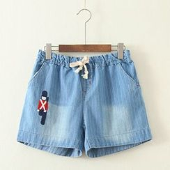 ninna nanna - Embroidered Denim Shorts