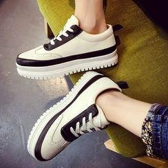 Shoeland - Platform Lace Up Sneakers