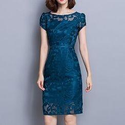 Fashion Street - Lace Cap Sleeve Sheath Dress