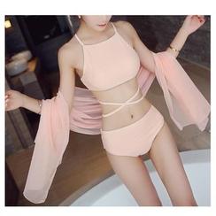 Jumei - 套装: 束腰比基尼泳衣上衣 + 比基尼泳衣下装 + 罩衫