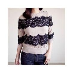 MASoeur - Elbow-Sleeve Lace-Trim Top