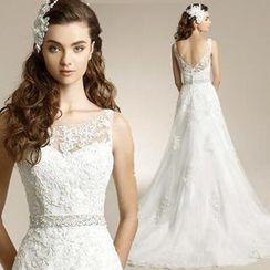 Angel Bridal - Cutout-Back Lace Sheath Wedding Dress
