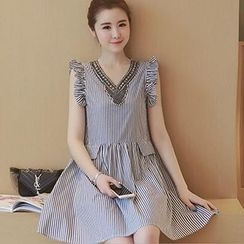 lilygirl - Frilled Sleeveless Striped Dress