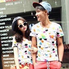 Evolu - Short-Sleeve Paint Splatter Couple T-Shirt