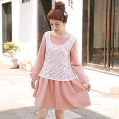 Suzette - Set: Applique Long Sleeve Dress + Crochet Tank Top