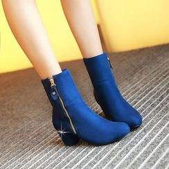 Pretty in Boots - Side Zip Chunky Heel Ankle Boots