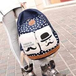 Miss Sweety - Mustache Heart-Print Canvas Backpack