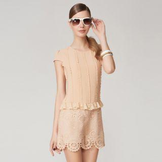 O.SA - Frilled Crochet-Panel Playsuit