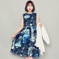 HOTPING - Sleeveless Pattern Dress