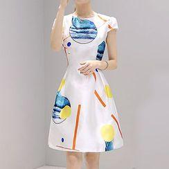Lavogo - Printed Cap Sleeve A-Line Dress