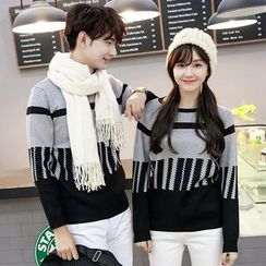 Azure - Couple Matching Color Block Knit Pullover