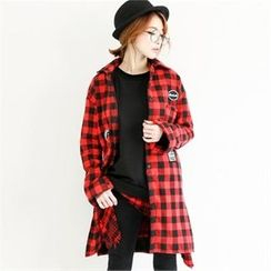GLAM12 - Fleece-Lined Long Check Shirt