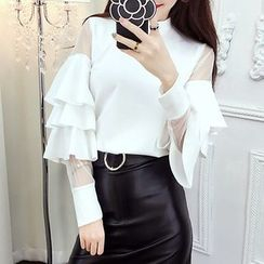 NEUF - Set: Ruffle Long-Sleeve Top + Faux Leather Skirt