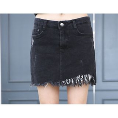 DANI LOVE - Inset Brushed-Fleece Lined Shorts Denim Mini Skirt