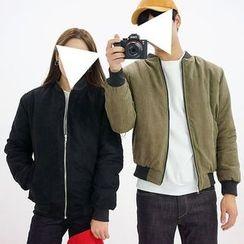 Seoul Homme - Couple Zip-Up Faux-Suede Jacket