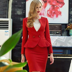 Aision - Peplum Blazer / Blouse / Pencil Skirt